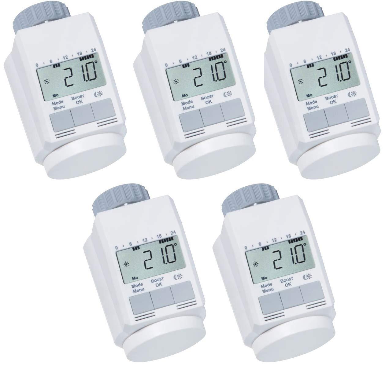 Ensemble de 5 thermostats de radiateur classique 'L' avec fonction boost + + + nouveau modè le silencieux eQ-3