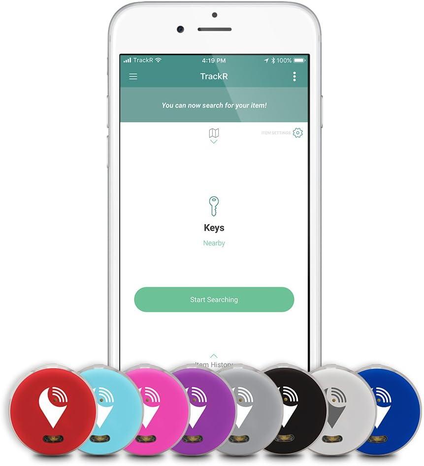 TrackR pixel - Traceur Bluetooth pour retrouver ses clés, localiser son téléphone, veiller sur son portefeuille. - Noir, Blanc, Gris, Bleu, Rouge, Aqua, Rose, Violet (lot de8)