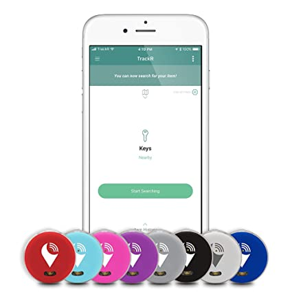 TrackR pixel - Bluetooth Tracking Device  Item Tracker  Phone Finder   iOS/Android Compatible - Multicolor (8 Pack)