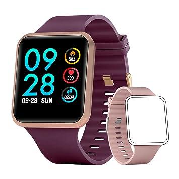 Smartwatch Mujer Reloj Inteligente con oxígeno y Monitor de frecuencia cardíaca IP68 Podómetro Medidor de Calor Reloj Deportivo Llamadas/SMS ...