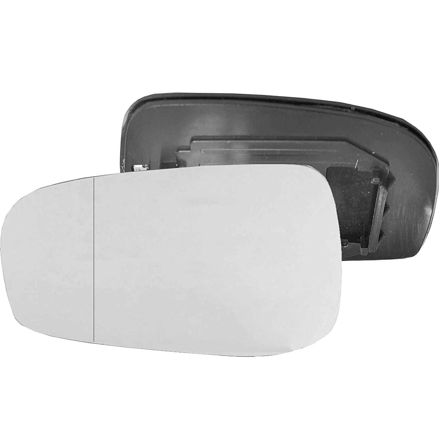 Passenger left hand side Heated wing door Silver mirror glass with backing plate #W-SHY/L-VOS8003 [Clip On]
