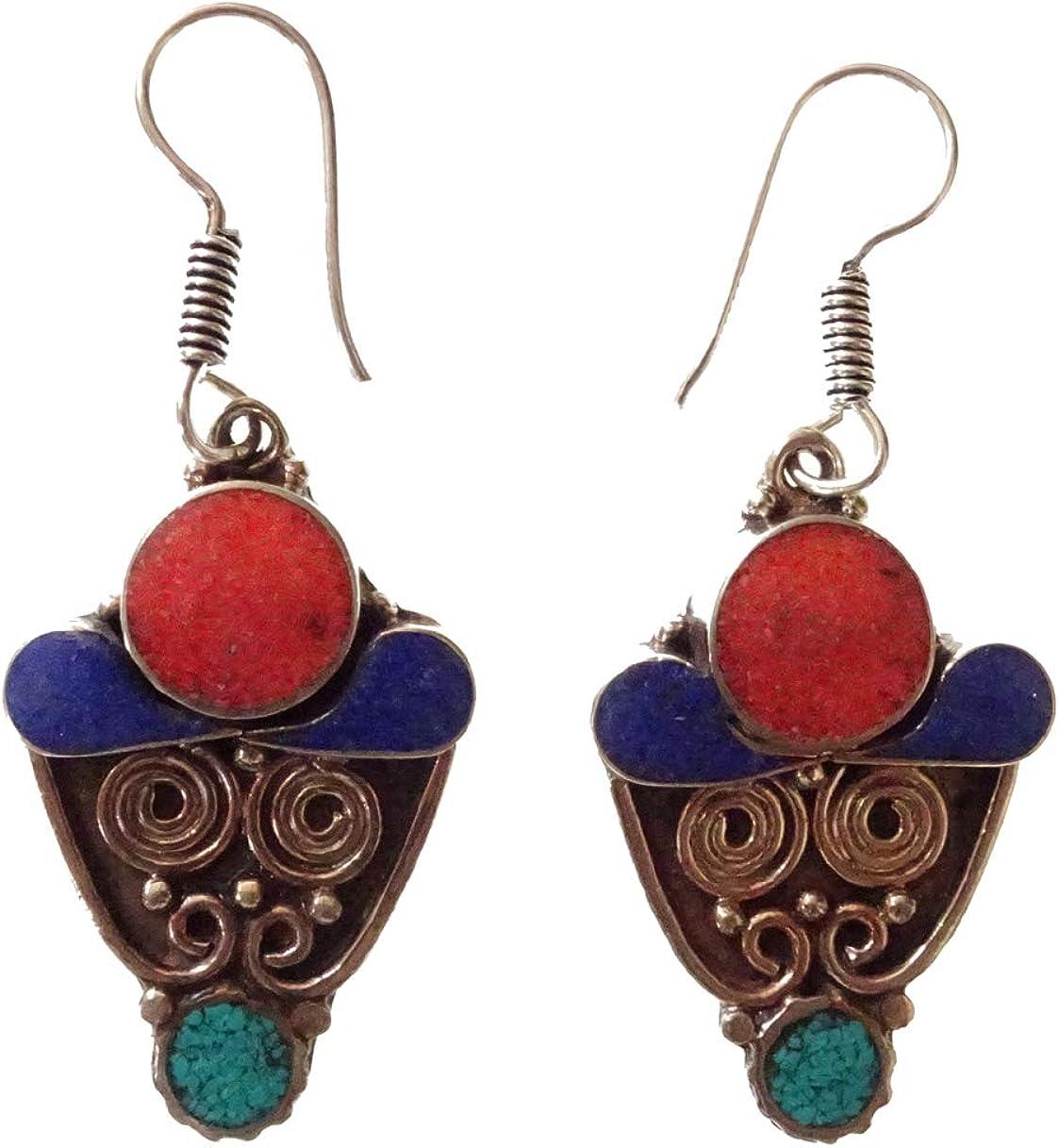 Coral y lapislázuli, turquesa Pendientes de piedras preciosas para mujeres Gota Cuelga Plata oxidada Pendiente tibetano hecho a mano Artesano nepalí Budista Joyería de moda de pendiente única budista