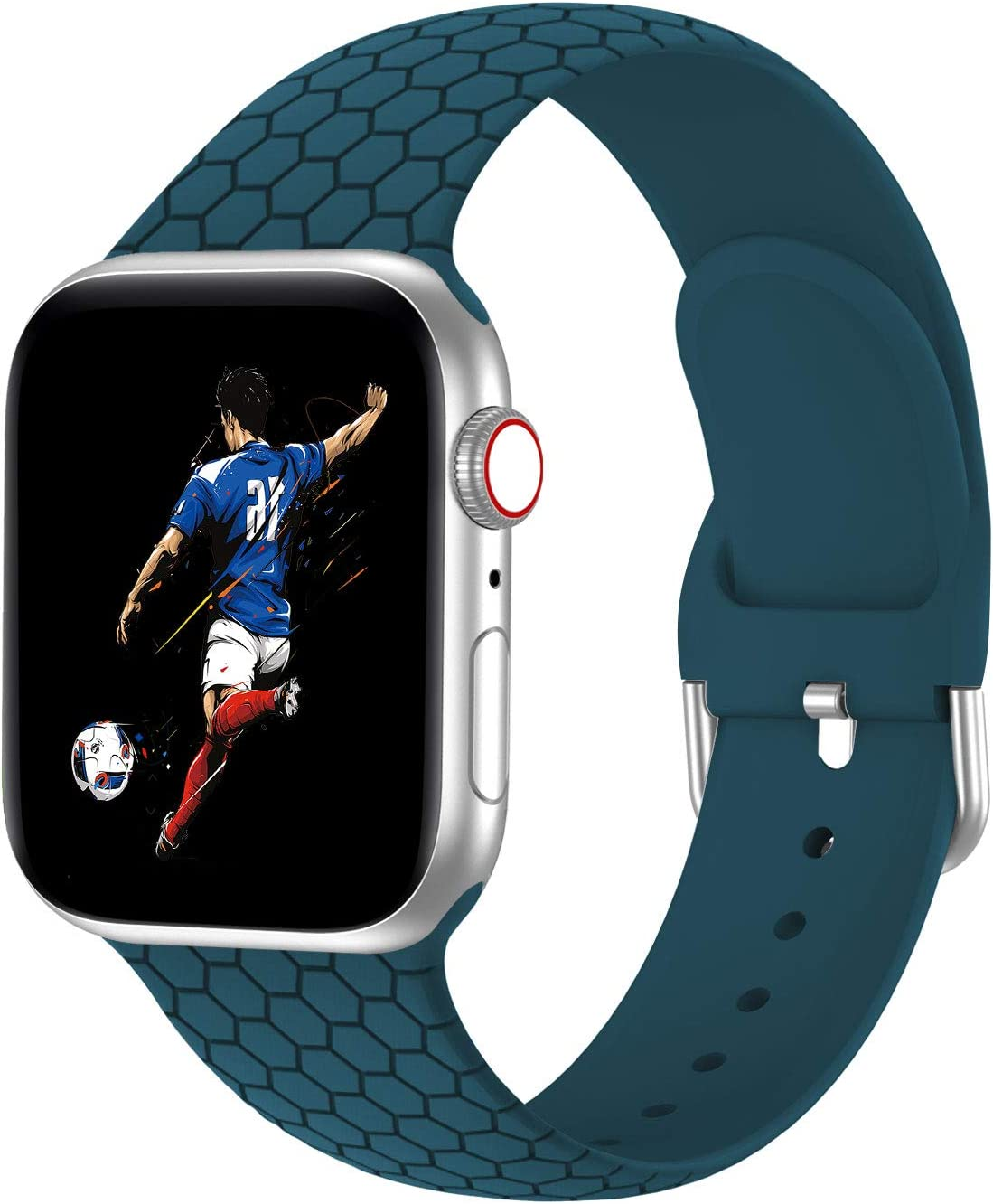 Bandiction Watch Band Compatible with Apple Watch 38mm 40mm 42mm 44mm, Soft Silicone Sport Replacement Strap Compatible for iWatch Series SE 6 5 4 3 2 1, Pacific Green