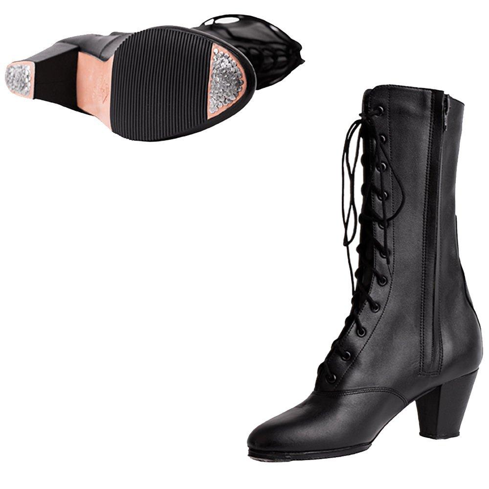 Miguelito Women's Mexican Folklorico Adelita Dance Boots Black 24.5 Mex 7 US