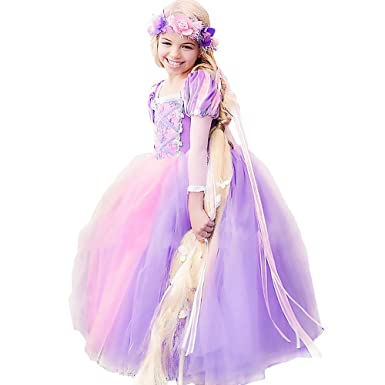 de2276b9a9 Amazon.com  CQDY Rapunzel Costume for Girls Cosplay Party Princess Dress Up  2-13T  Clothing