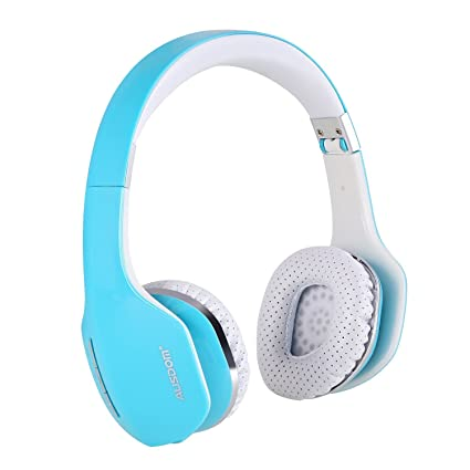 AUSDOM M07 Foldable Stereo Wireless Bluetooth Headphone Headset with Mic for TV iPhone Samsung  Blue  Electronics