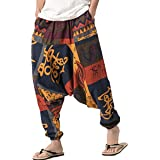 PERDONTOO Men Women Cotton Harem Yoga Baggy Genie Boho Pants