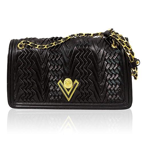 plissé Orlandi Valentino noir Sac bandoulière en drapé cuir à w1004qdxr