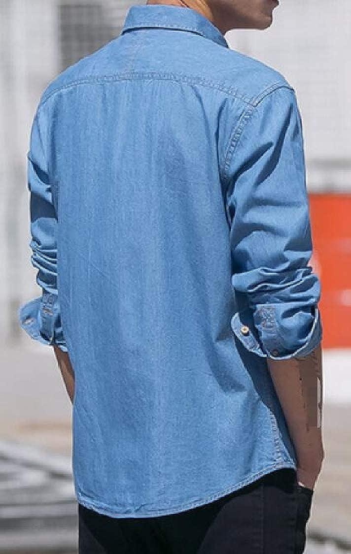 Lutratocro Mens Comfortable Cotton Button Down Casual Jean Long Sleeve Shirts