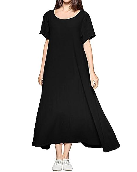 d8ebf6b502 Kidsform Women Maxi Dress Summer Casual Short Sleeve Loose Plain Party Long  Dress with Pockets Black