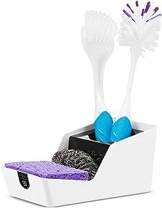 Crippa kitchen Sponge Holder   Sponge Holder for Kitchen Sink   Dish Brush Holder   Perfect Kitchen Sink Organizer for Dish Sponge, Scrubber, and Brush   Black & White