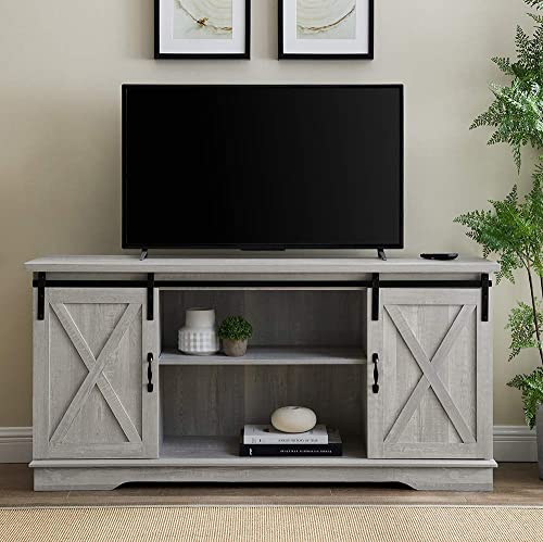 Home Accent Furnishings Tucker 58 Inch Sliding Barn Door TV Console in Stone Grey