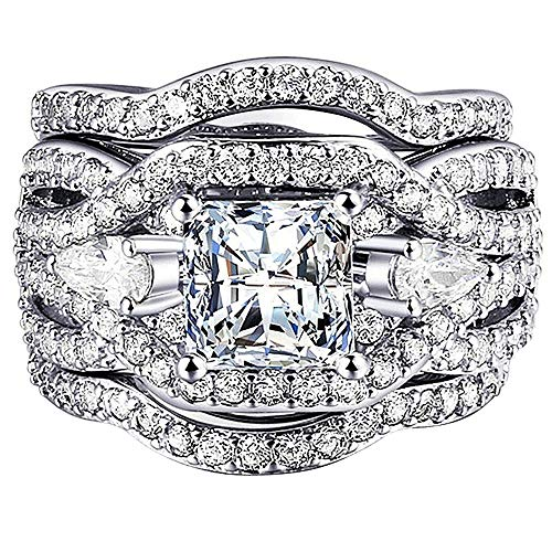 AONEW Women Engagement Wedding Ring Set White Gold 3pcs Princess White Cz Size 5-12 Size 10 ()