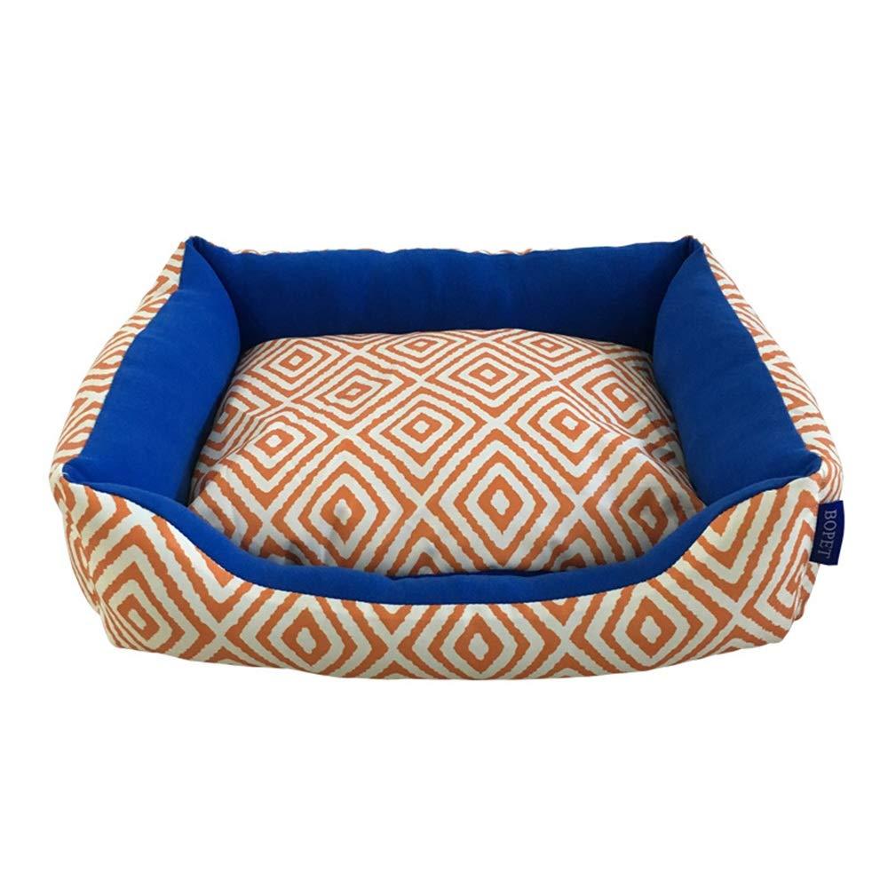 orange bluee S orange bluee S Dog Bed Pet Nest, Removable Cat Litter, Four Seasons Universal Soft Comfortable Dog Pet Warm Basket Mattress (color   orange bluee, Size   S)