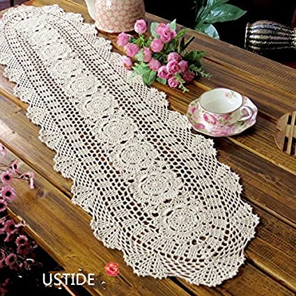 USTIDE Floral Hand Crochet Table Runner Doily Beige Lace Table Doilies  Cotton Table Placemats Oval Table