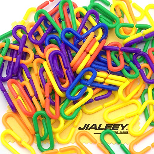 JIALEEY 100 Piece Plastic C-Clips Hooks Chain Links Rainbow C-Links Children's Learning Toys Small Pet Rat Parrot Bird Toy Cage ()