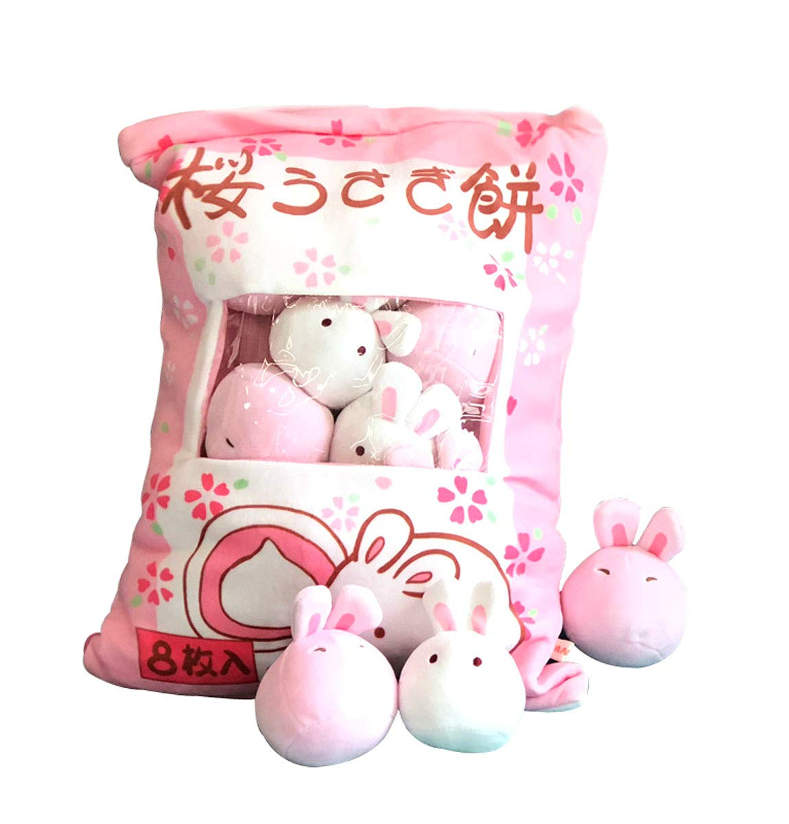 Nenalayo Cute Throw Pillow Stuffed Animal Toys Removable Fluffy Bunnies Creative Gifts for Teens Girls Kids by Nenalayo (Image #1)