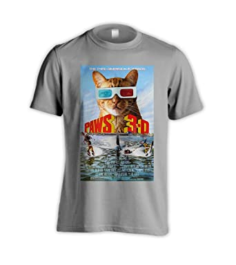 da8f8e0e7 Paws 3d Parody For Jaws 3d Movie Funny Cat Kitten Grey T-Shirt (XXX-LARGE):  Amazon.co.uk: Clothing