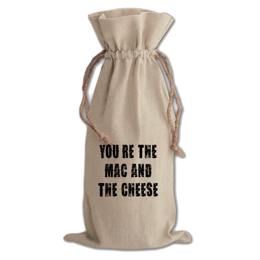 You Are The Mac And The Cheese #2 Cotton Canvas Wine Bag, Cotton Drawstring