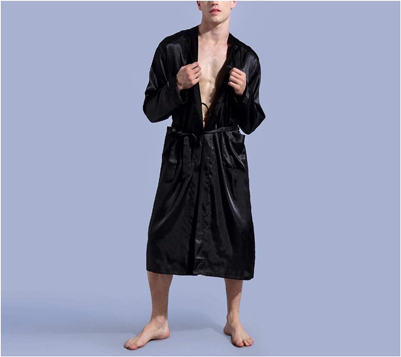 Black Mens Satin Rayon Robe Gown Solid Color Kimono Bath Gown Lounge Casual Male Nightgown Sleepwear Home Wear S M L XL XXL