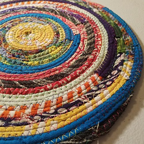 Multicolor Jewels Fabric Table Mat, Placemat, Cloth Mat, Made to Order, Qty: 1, Braided Rug Style, Upcycled, Eco-Conscious, Eco-Friendly, Boho Hippie Unique Colorful, Vintage Inspired (Baskets Made To Order)