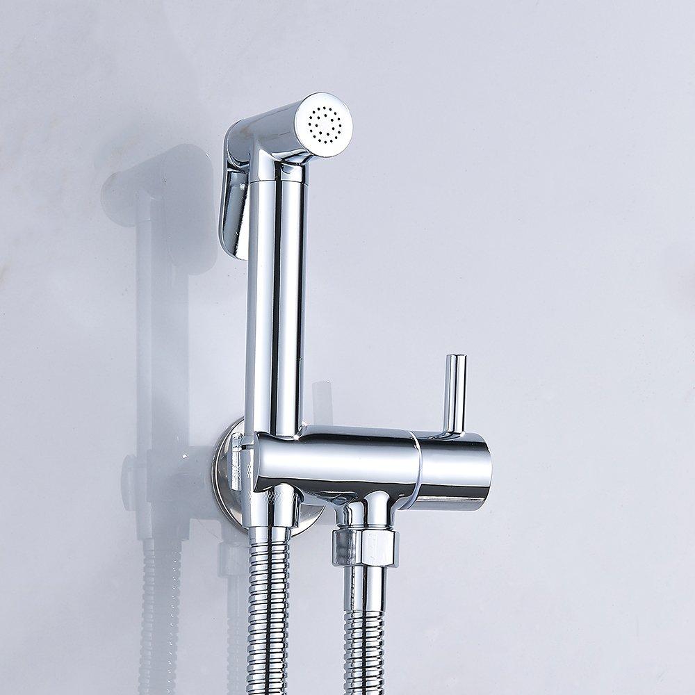 Kit Douchette WC Mitigeur Thermostatique Mural avce Pulv/érisateur /à Main en Lation Chrom/é Anti-br/ûlure Toilette Bidet Douchette pour lhygi/ène Intime