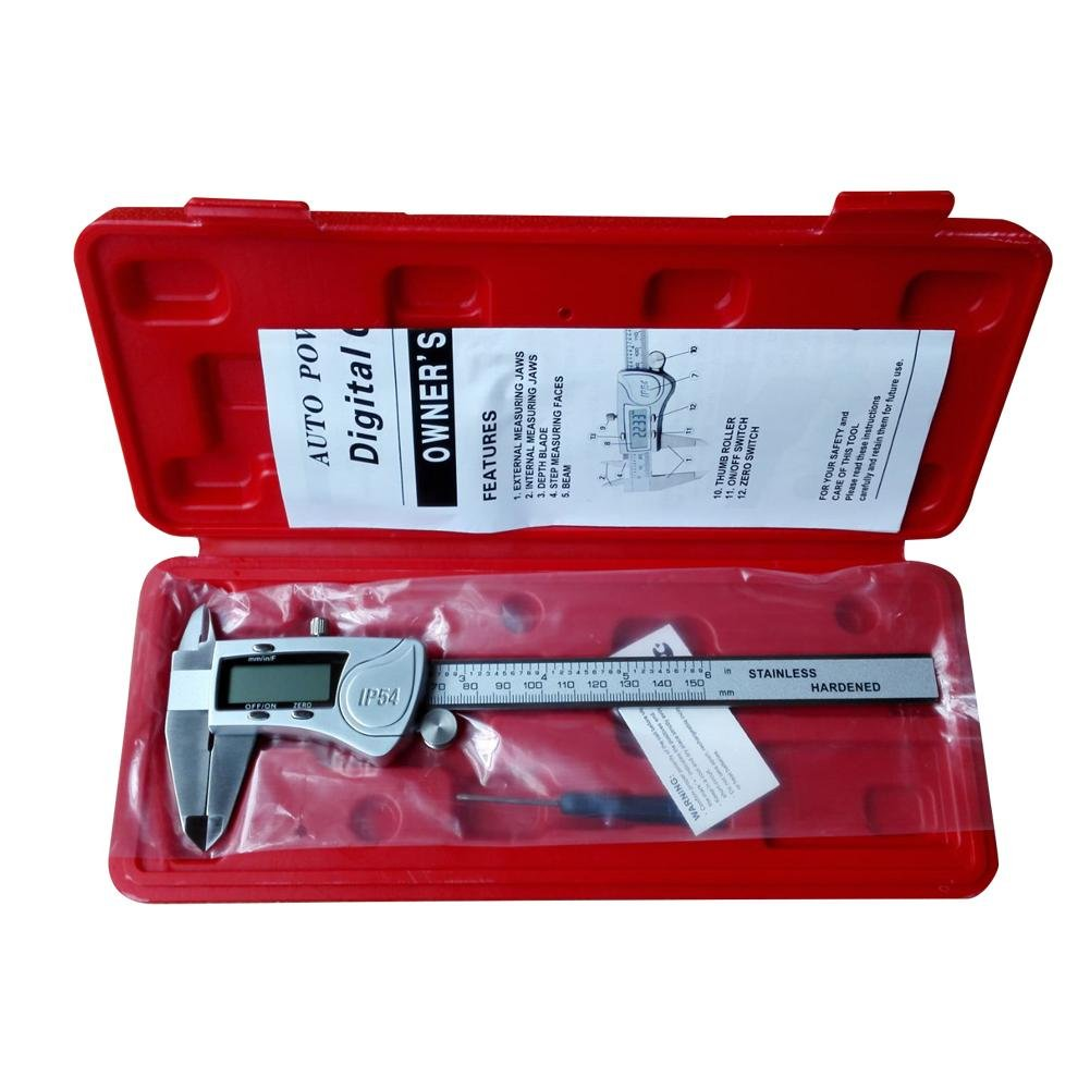 Digital Caliper Water Resistant Durable Stainless Steel IP54 Measuring,Precision Measurements on Large LCD Display Vernier Calipers,Inch/Fractions/Millimeter Conversion (150mm)