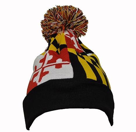 Amazon.com  Maryland Flag Knit Pom-Pom Beanie Hat w  Black Ribbed Cuff   Sports   Outdoors 9f378b68610