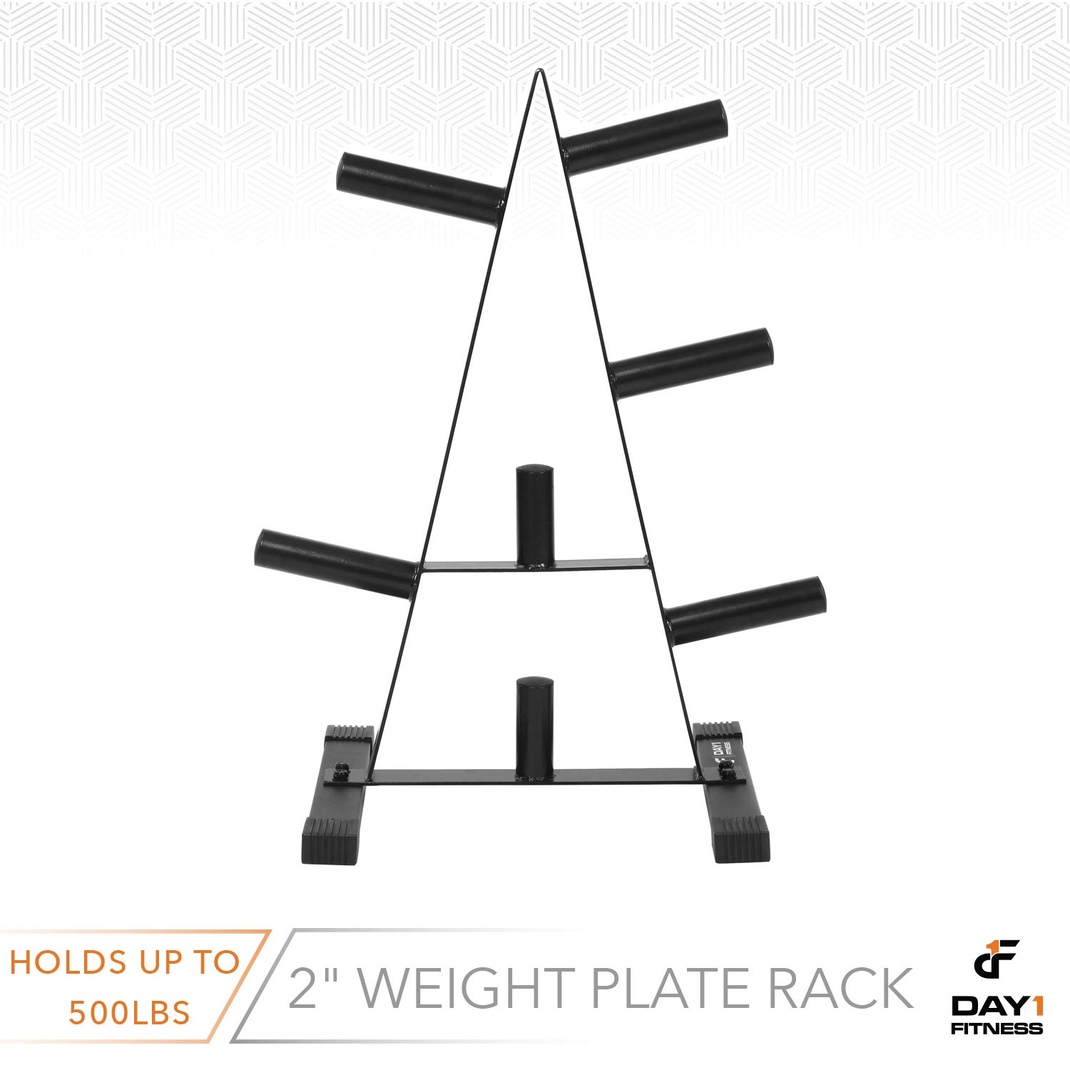 Olympic Weight Plate Rack, Holds up to 500lb of 2'' Weights by D1F - Black Weight Holder Tree with 7 Branches for Stacking and Storing High Capacity Weights- Heavy-Duty, Durable Triangle Plate Racks by Day 1 Fitness (Image #5)
