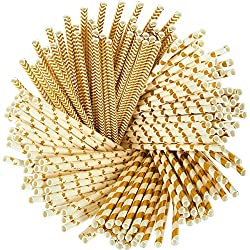 Paper Straws - 160-Pack Gold Colored Fun Biodegradable Drinking Straws with Coral Stripes, Polka Dot, Chevron, and Star Designs