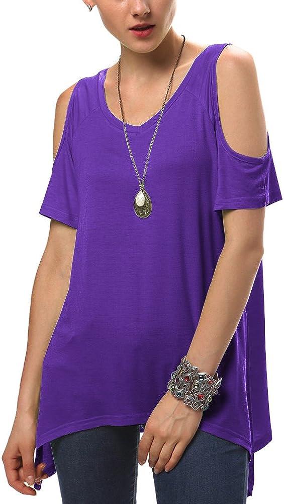 Womens Vogue Shoulder Off Wide Hem Design Top Shirt
