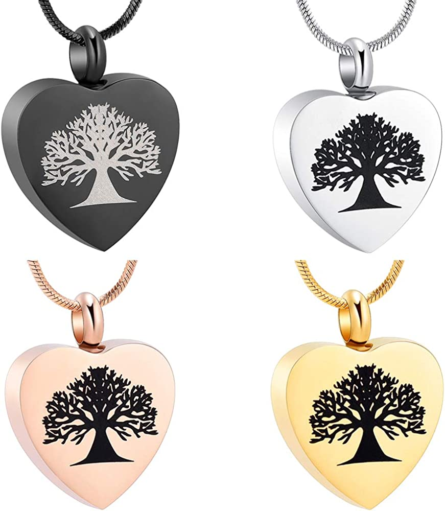 zeqingjw Tree of Life Cremation Jewelry for Ashes Heart Memorial Urn Necklace Keepsake Pendant Necklace for Women Men Ashes Jewelry