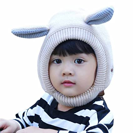 5f0f110e7adb Aivtalk Baby Girls Rabbit Pattern Cap Winter Soft Woolen Knitted Hat ...