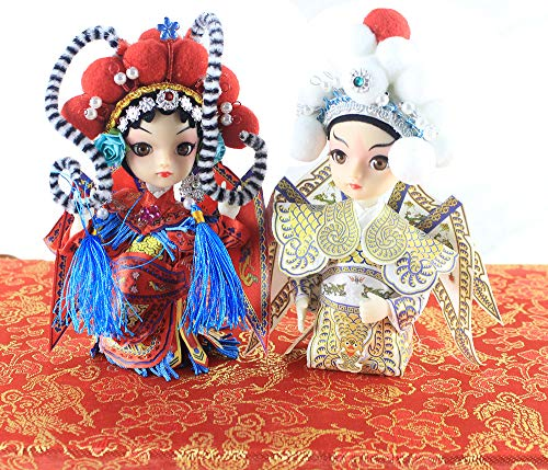 2PCS Hero Yang Zong Bao and Heroine Lady Mu Q Version Doll The Chinese Peking Opera Mini Performer ()