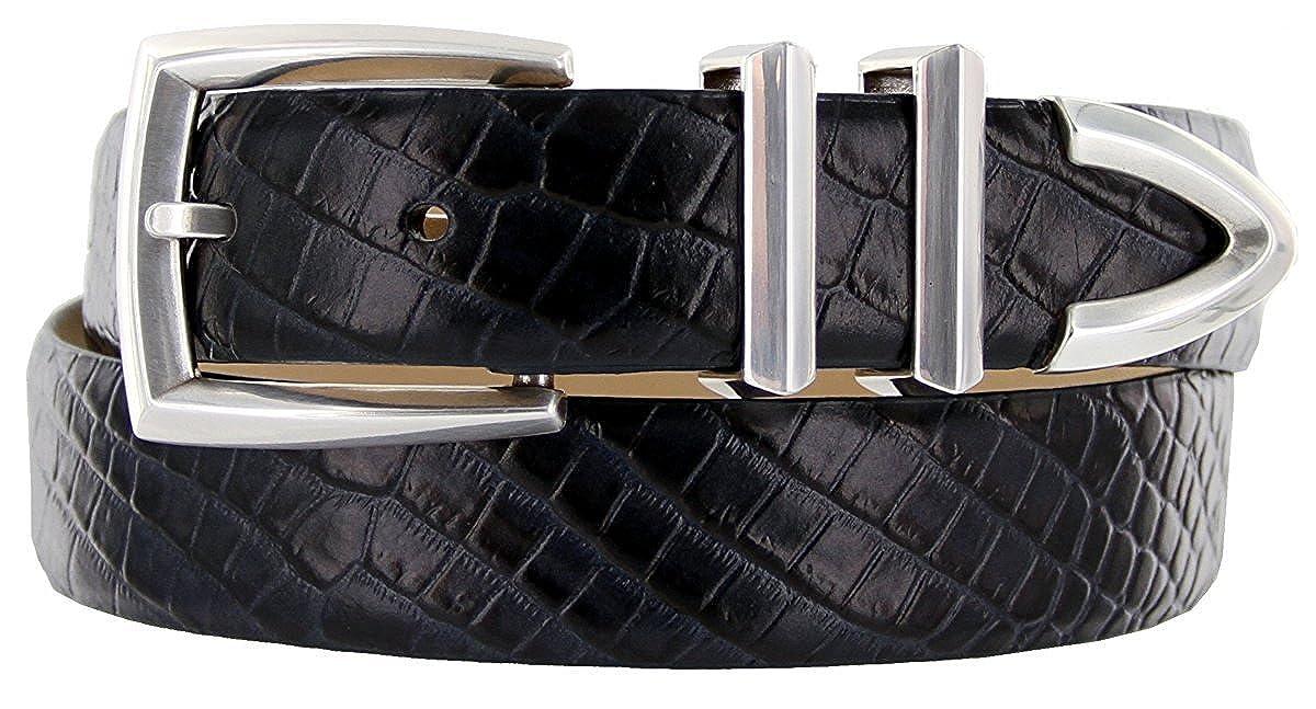Hagora Men 1-1//8 Wide Italian Calfskin Embossed Smooth Silver Buckle Belt
