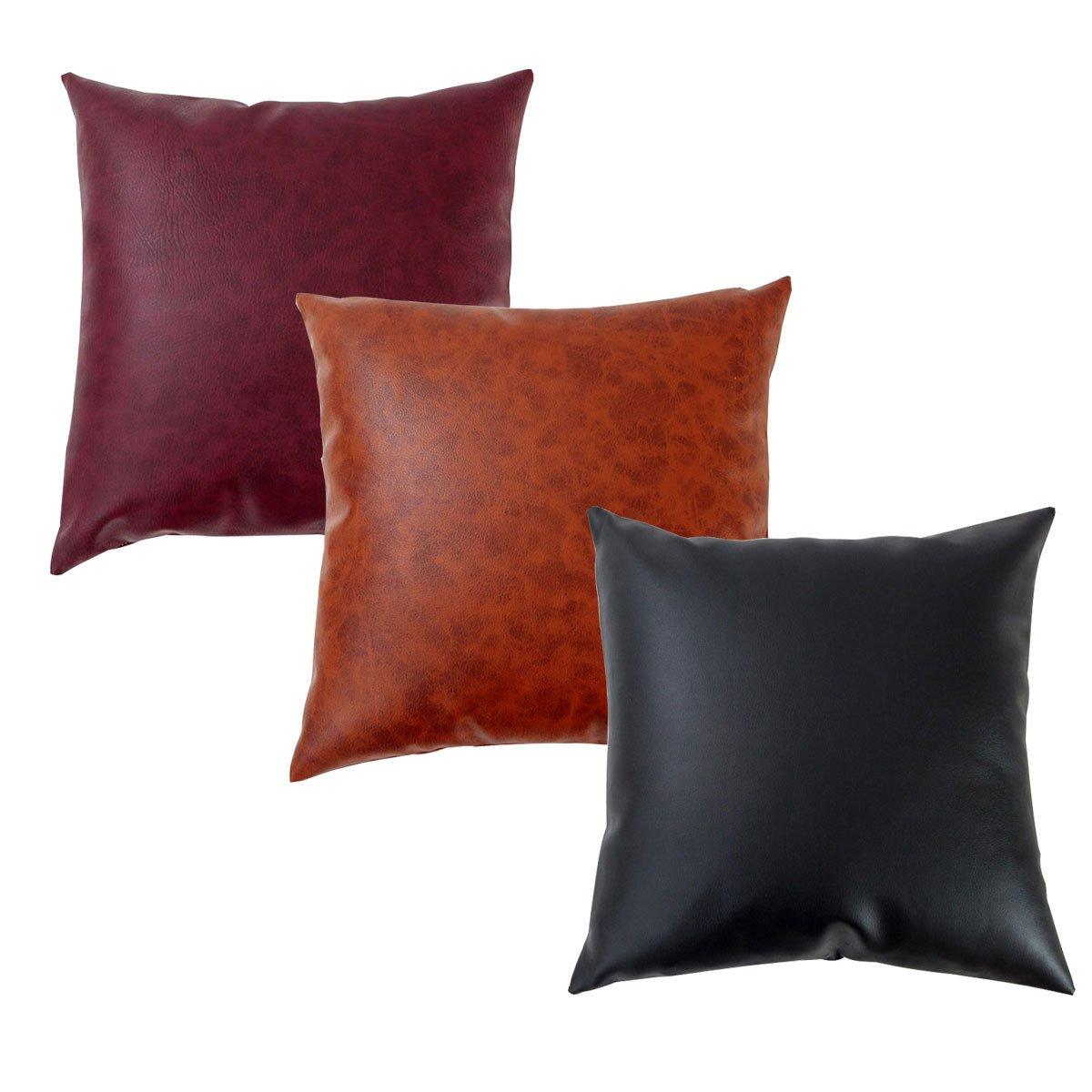 LAZAMYASA Pack of 2 Sofa Pillowcase Soft Batik Effect PU Faux Leather Throw Pillowcase Home Decorative Chairs Cushion Both Side,2PCS