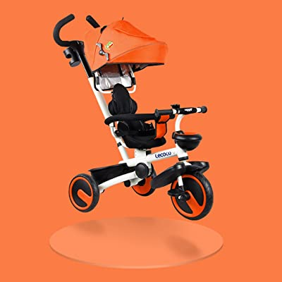Xiaoping Vélo d'enfants, Tricycle, Vélo pliant 1-6 ans, Poussette, Putter détachable (Color : Orange)