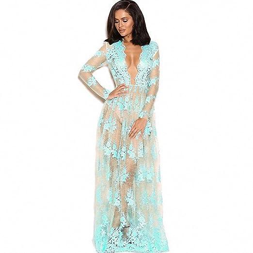 Fashionable Lace Skirt Long Lace Dress Female Transparent