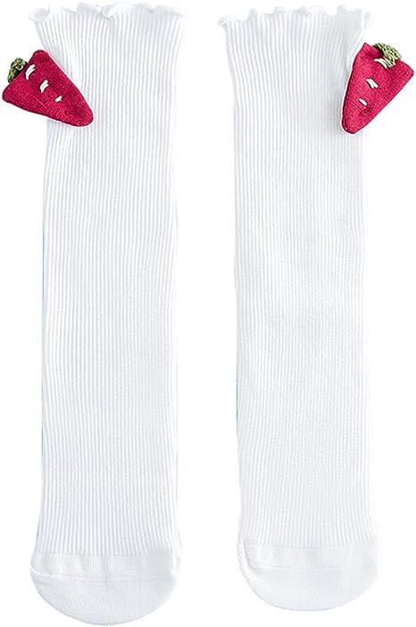 La niña de la media de punto alto de rodilla de algodón calcetines ...