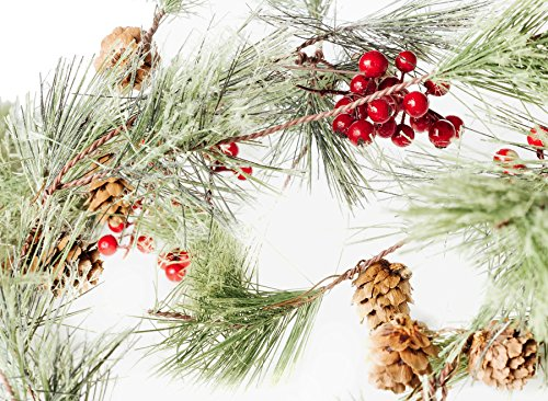 CraftMore Christmas Smokey Pine and Red Berry Garland 6 - Berry Pine Frosted
