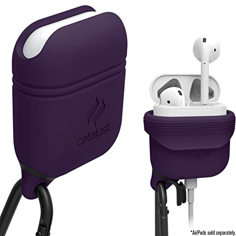 Catalyst Airpods Case   Shock Drop Proof Air Pods Protective Cover Waterproof Soft Skin, Anti Lost Carabiner, Silicone Sealing, Hassle Free Charging   Quality Apple Headphones Accessories, Deep Plum by Catalyst