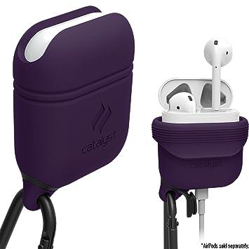 Catalyst Silicon Airpods Case, Funda Cascos bluetooth inalámbricos auriculares con mosqueton, Púrpura