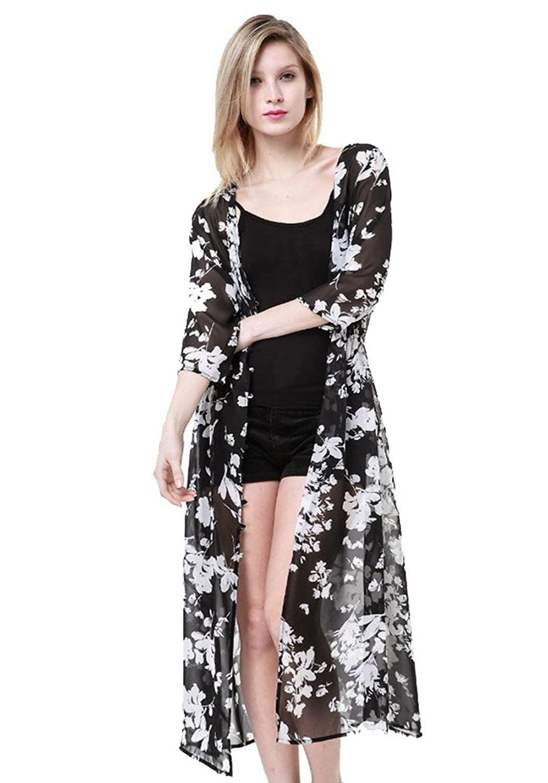 SaiDeng Damen Weiß Blume Gedruckt Chiffon Breasted Kleid-Sonnenschutz
