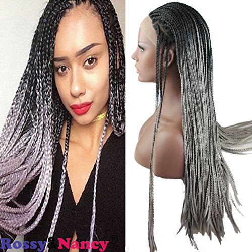 Rossy&Nancy Cheap High Quality Lace Front Braided Wig 2 Tone Black Ombre Grey Color With Baby Hair 130% High Density For Black Women (Braided Hair Wigs)