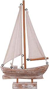 Wooden Sailboat Model Decoration, Mini Wood Sailing Boat Ship Model Handmade Rustic Vintage Beach Nautical Ocean Theme Sailboat Decor 10.75 x 6 x 1.5 Inches (Wood Sail Boat B)