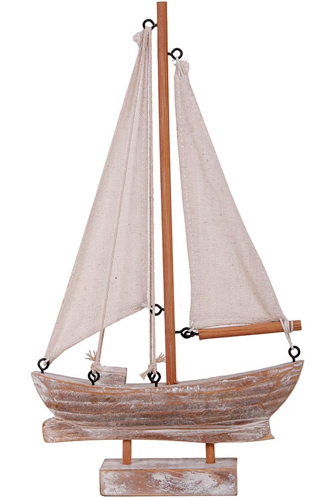 Wooden Sailboat Model Decoration, Mini Wood Sailing Boat Ship Model  Handmade Rustic Vintage Beach Nautical Ocean Theme Sailboat Decor 7.7 x 7  x 7.7