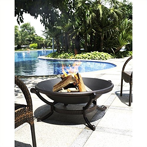 Crosley Furniture Ashland Outdoor Fire Pit with Oversized Bowl and Steel Mesh Lid - Antique Black
