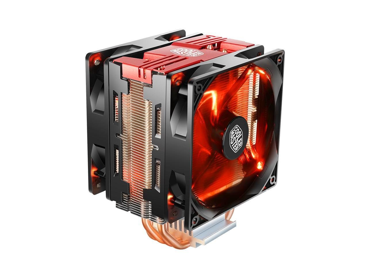 Cooler Master Blizzard T400 PRO (Red) - CPU Cooler with Dual (2X) XtraFlo 120''Fire Red LED PWM Fan, 4 Direct Contact Heatpipes, Red Top Cover, Intel/AMD Universal Mounting (AMD AM4 Compatible!) by Toptekits