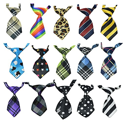 Neckties Apparel (15Pcs/Pack Baby Boys Pet Necktie for Cat Dog Tie Collar Assorted Cute Style Adjustable)