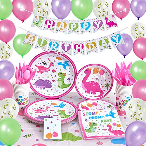 Girl Birthday Supplies (WERNNSAI Dinosaur Party Supplies - Birthday Party Decorations for Girls Birthday Banner Balloons Tablecloth Plates Cups Napkins Tableware Utensils Serves 16 Guests 153)